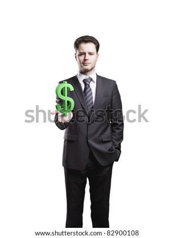 Young  businessman chooses a green US dollar sign.Isolated on a white background - stock photo