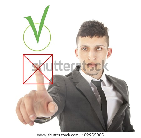 Young businessman choosing no over yes isolated on white background - stock photo