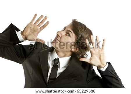 young businessman crushed on a glass - stock photo