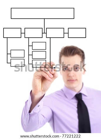 young businessman drawing a flowchart, isolated on white - stock photo