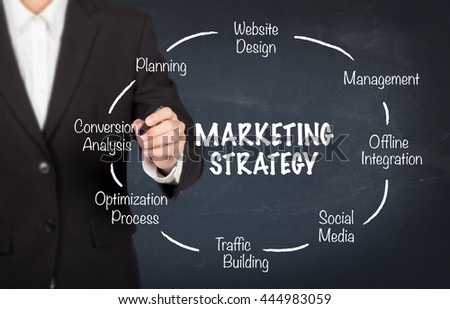 Young businessman drawing marketing strategy concept - stock photo