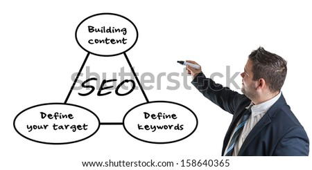 Young businessman drawing SEO process information concept on whiteboard.  - stock photo