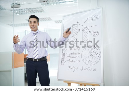 Young businessman explaining business strategy during seminar - stock photo