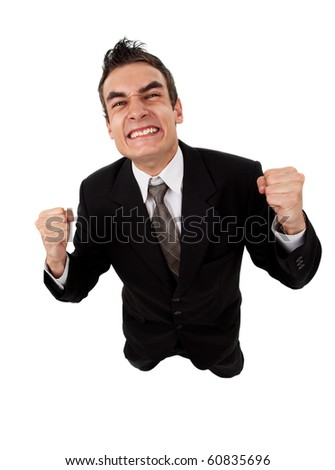 young businessman fails, isolated on white - stock photo