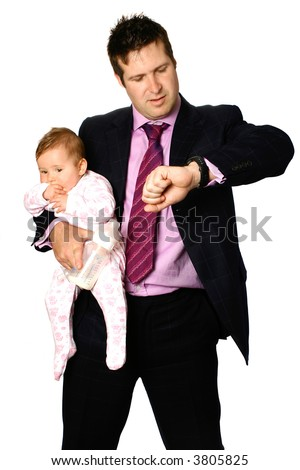 Young businessman father holding his baby on one arm with feeding bottle while looking at his watch, isolated on white. Concept of corporate pressure and familyhood. - stock photo