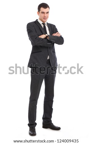 Young businessman feels success isolated on white background - stock photo