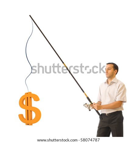Young businessman fishing a dollar