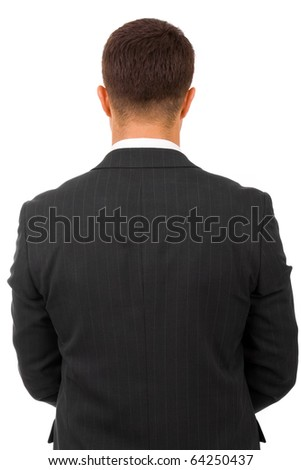 young businessman from behind, isolated on white - stock photo