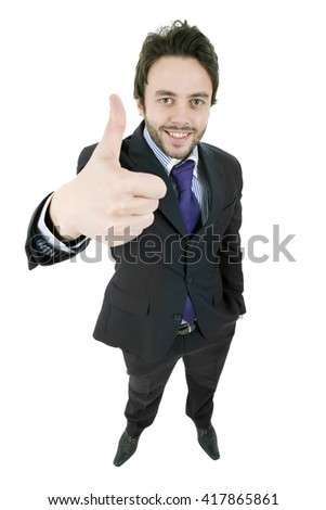 young businessman full body going thumb up, isolated on white background - stock photo