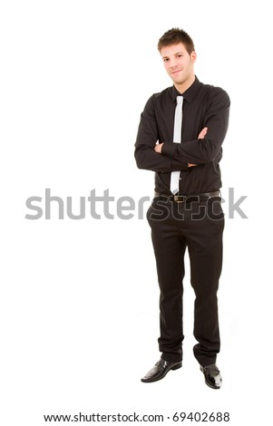 Young businessman full body isolated on white - stock photo