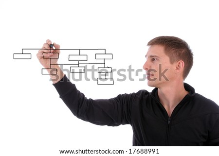 Young businessman, full of thoughts, isolated in white background
