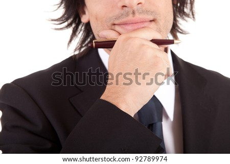 Young businessman, full of thoughts, isolated in white background - stock photo