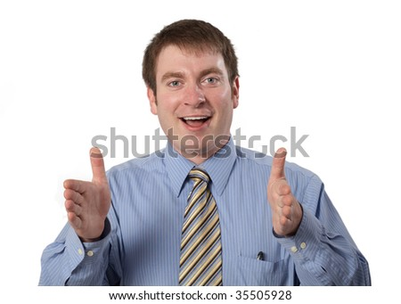 Young businessman gesturing an idea with hands on white - stock photo