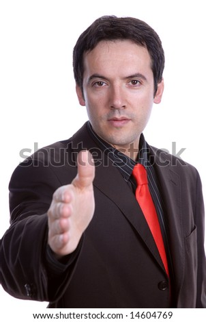 young businessman give handshake isolated on white