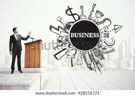 Young businessman giving public speech, business concept - stock photo