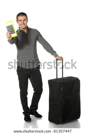Young businessman going to travel, isolated on white background