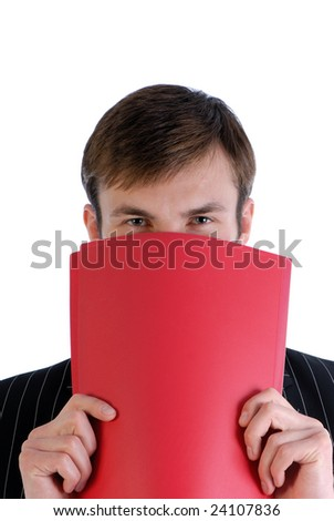 young businessman has covered  person with  folder of red color isolated on  white background - stock photo