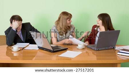 Young businessman has fallen asleep sitting at meeting - stock photo