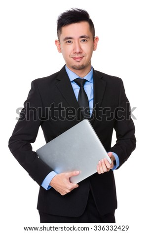 Young Businessman hold with laptop computer