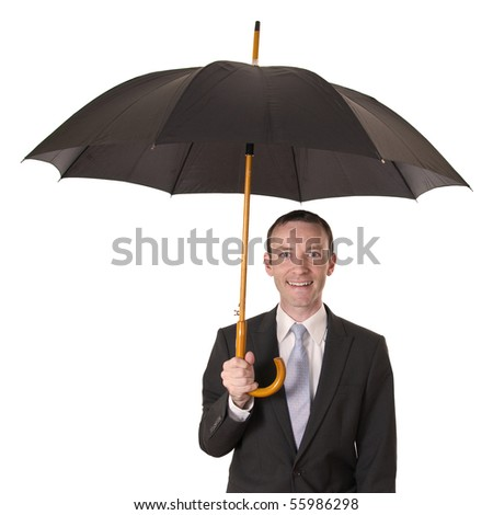 young businessman holding a black umbrella isolated on white