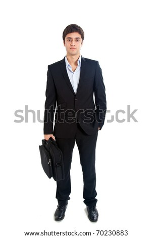 Young businessman holding a briefcase isolated on white full length - stock photo