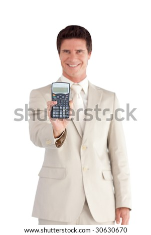 Young Businessman Holding a calculator in his hands