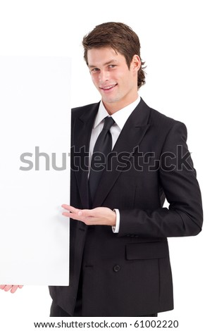 young businessman holding a white board - stock photo