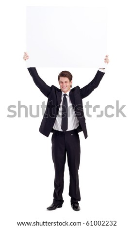 young businessman holding a white board