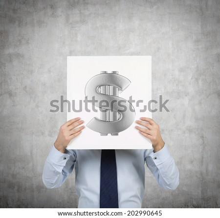 Young businessman holding a white placard with dollar sign.  - stock photo