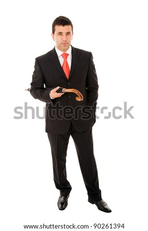Young businessman holding and umbrella on white background