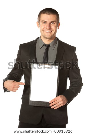 Young businessman holding blank board, isolated on white background - stock photo