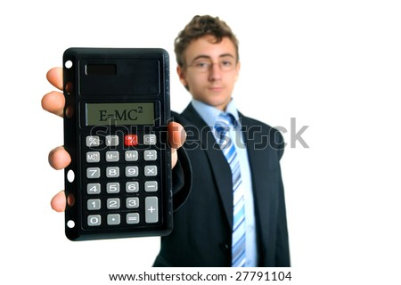 Young businessman holding calculator with Einstein formula