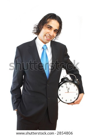 young businessman holding clock on white background - stock photo