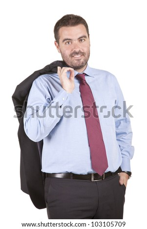 young businessman holding his jacket over his shoulder - stock photo