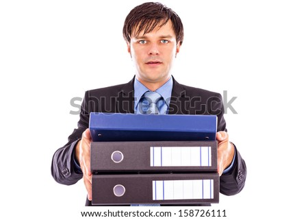 Young businessman holding many folders isolated on white background