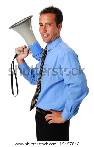 Young businessman holding megaphone isolated over a white background - stock photo