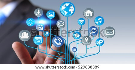 Young businessman holding modern digital electronic circuit with icons in his hand 3D rendering