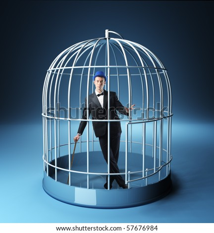 young businessman in a 3d bird cage - stock photo
