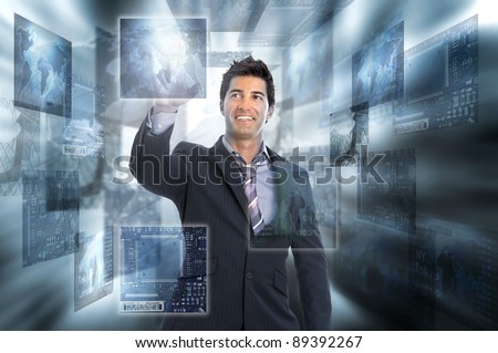 Young businessman in a digital world