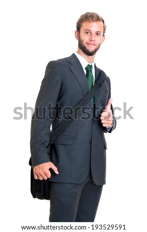 Young businessman in a white background
