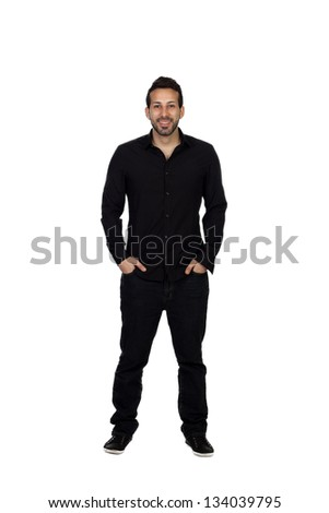 Young businessman in black isolated on white background - stock photo