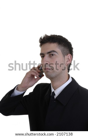 young businessman in black portrait calling by phone