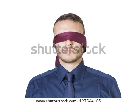 young businessman in blindfold isolated on a white background - stock photo
