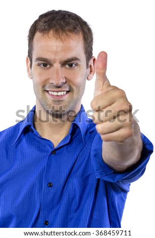 Young businessman in blue collar shirt isolated on a white background.  The man is holding his hands in a thumbs up gesture.