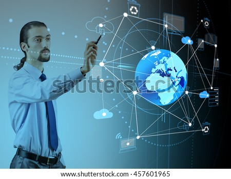 Young businessman in cloud computing concept - stock photo