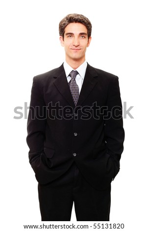 Young businessman in dark suit - stock photo