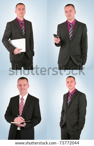 Young businessman in different situations, isolated on blue - stock photo