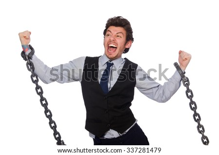 Young businessman in funny concept on white - stock photo