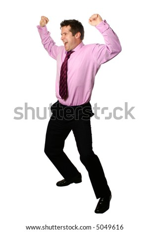 Young businessman in gesture of jubilation, both arms up in the air celebrating, isolated . - stock photo