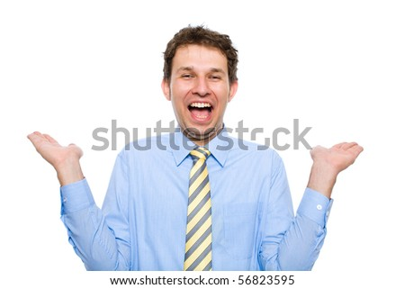 young businessman in his 20s, wears blue shirt with yellow necktie, holds arms up celebrate success, studio shoot isolated on white background - stock photo